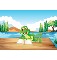 A frog reading a book at the wooden diving board vector image