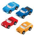 isometric sedan sports car suv and pickup truck vector image