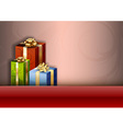 christmas background red stripe gifts vector image vector image