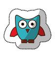 blue stylized owl icon vector image