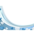 Blue wavy abstract background with hearts vector image