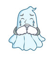 crying cute ghost character cartoon vector image
