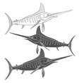 set of black and white images with marlin fish vector image