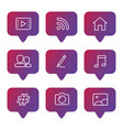 social media line icons set vector image