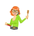 Housewife Chatting On The Smartphone While Cooking vector image