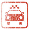 taxi automobile framed textured icon vector image