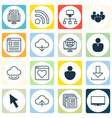 set of 16 world wide web icons includes wifi vector image
