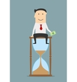 Businessman sitting on a hourglass with money vector image vector image