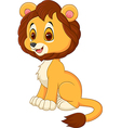 Cute baby lion walking isolated on white backgroun vector image