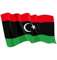 political waving flag of libya vector image