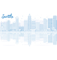 Outline Seattle skyline with blue buildings vector image