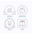 Surfboard beach ball and trunks icons vector image
