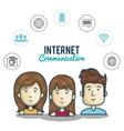 cartoon persons internet communication media vector image