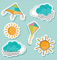sun with clouds and flying kites sticker vector image