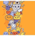 Seamless halloween kawaii pattern with sticker vector image vector image