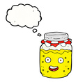 Cartoon honey jar with thought bubble vector image