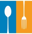 Spoon and fork kitchen background vector image