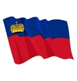 political waving flag of liechtenstein vector image