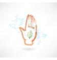 Eco palm grunge icon vector image