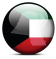 Map on flag button of State of Kuwait vector image