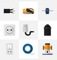 Set of 9 editable electrical icons includes vector image