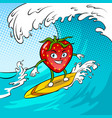 strawberry surf sea pop art vector image