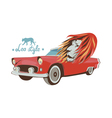 Wild cat retro car driver vector image