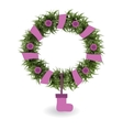 with Christmas wreath vector image