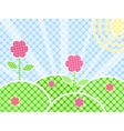Grass And Flower On Green Meadow vector image