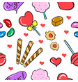 candy sweet various food doodle style vector image