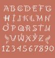 white floral alphabet vector image