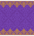 seamless purple and gold frameborder in damask vector image vector image