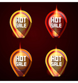 Hot Sale Stickers - Labels Set in Flames - Fire vector image