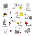 Hand drawn business and finance icons set vector image