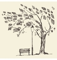 Romantic tree with bench lantern drawn sketch vector image