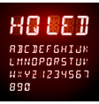 LED digital alphabet on red background vector image vector image