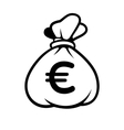 Euro Money Icon with Bag vector image