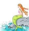 Mermaid sitting on the rock vector image