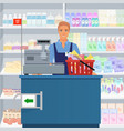 salesman man cashier standing at checkout in vector image
