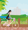 young girl with bicycle vector image