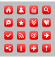 Red satin icon web button with white basic sign vector image