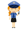 Policewoman in blue uniform vector image