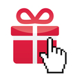 Red present icon with cursor hand vector image vector image
