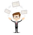 Cheerful businessman with big envelope vector image
