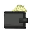 cartoon wallet banknote money safe icon vector image
