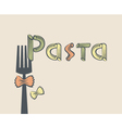 fork with pasta vector image vector image