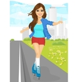 girl skating on rollerblades on sidewalk vector image