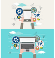 Flat design of modern creative office workspace vector image