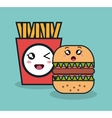 cartoon burger with fries french facial expression vector image