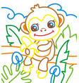 coloring book of monkey eat vector image